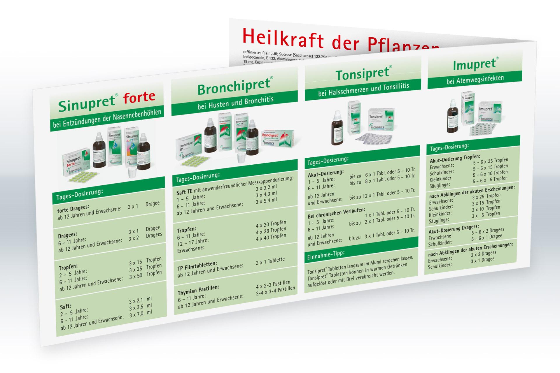 Gestaltung von Produkt Dosierungskarten