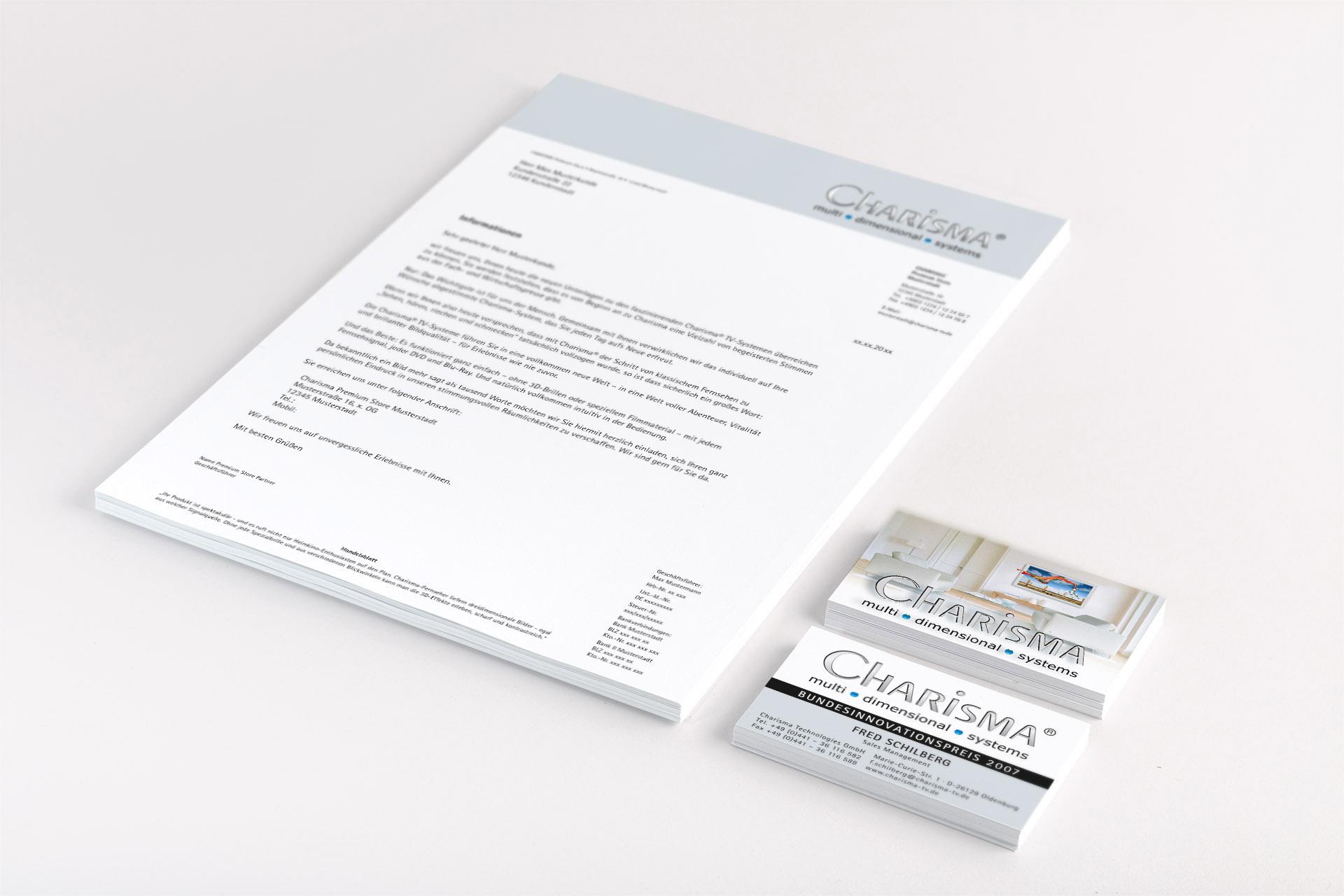 Entwicklung Fachhandels Briefpapier und Visitenkarten