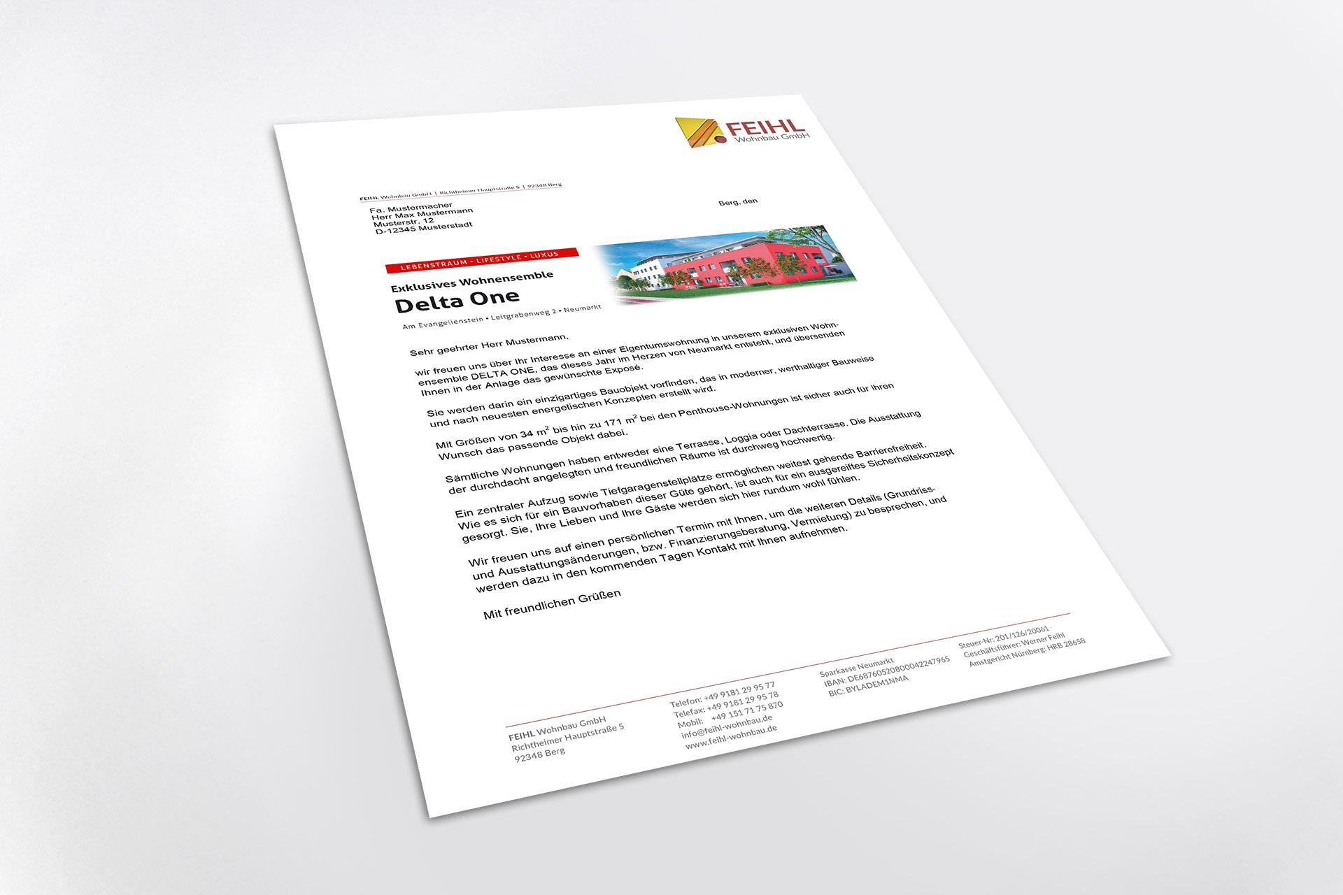 Konzeption Delta One Kundenanschreiben