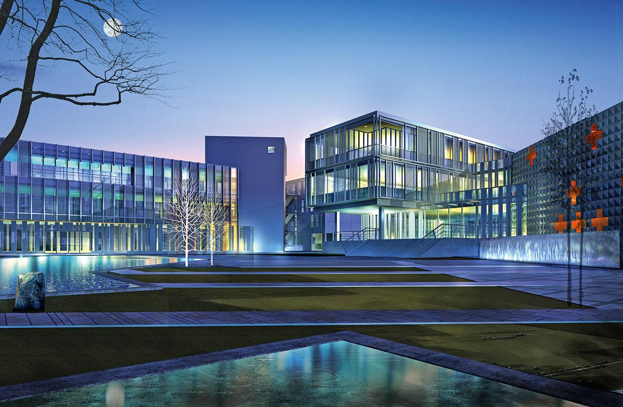 Visualisierung Bürohäuser bei Nacht