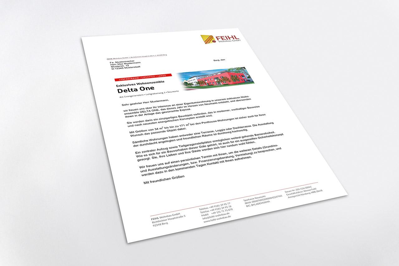 Visualisierung Delta One Kundenanschreiben