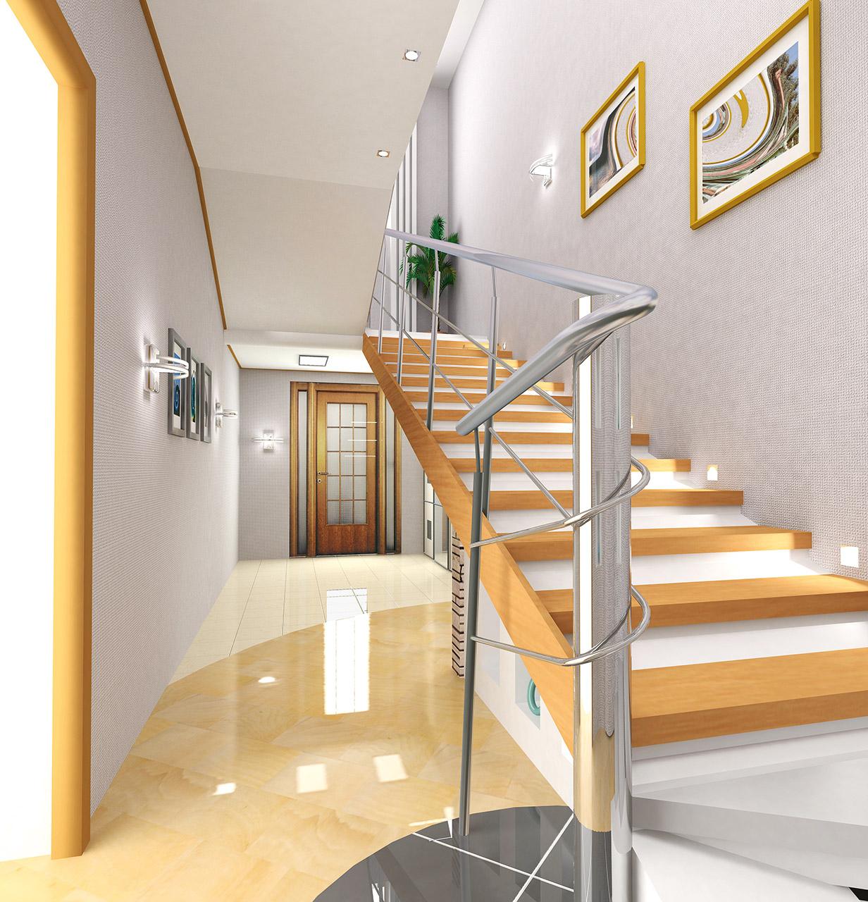 Visualisierung Interieur moderne Treppe