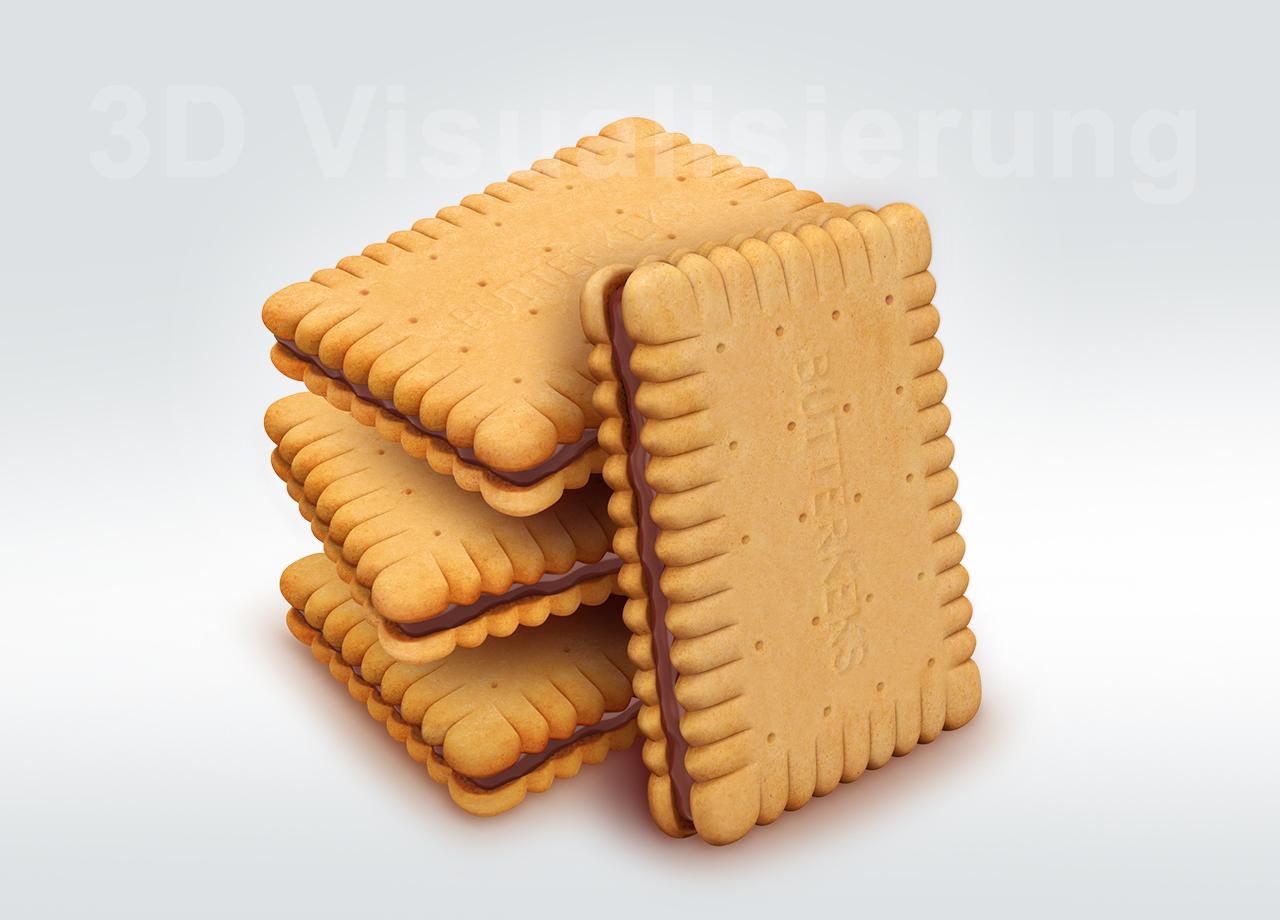 Visual Unlimited 3D Visualisierung 3D Butterkeksstapel