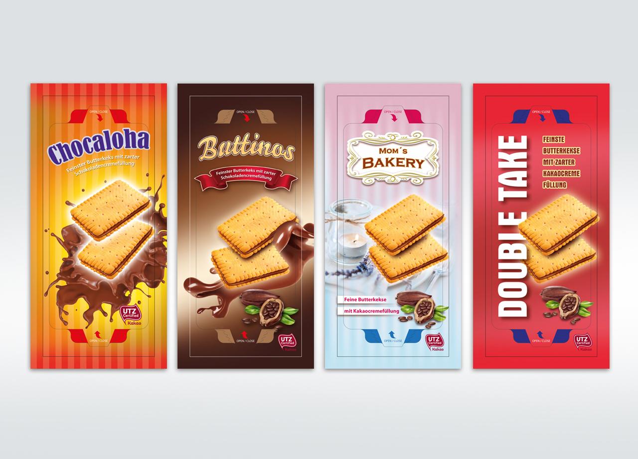 Visual Unlimited Entwürfe Continental Bakeries Butterkeks und Schokoladencreme Beutel